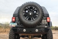 PJ2002: JEEP JK STUBBY REAR & SQUARE FRAME TIRE CARRIER (LIGHT MOUNT)